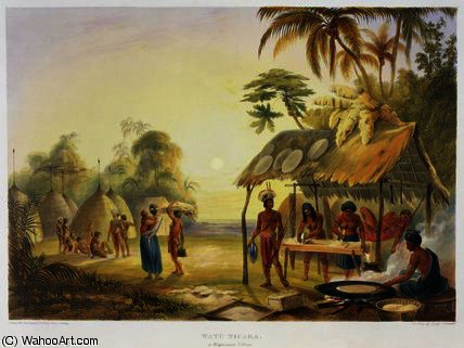 watu ticaba , un Wapisiana Villaggio di Charles Bentley (1805-1854, United Kingdom)