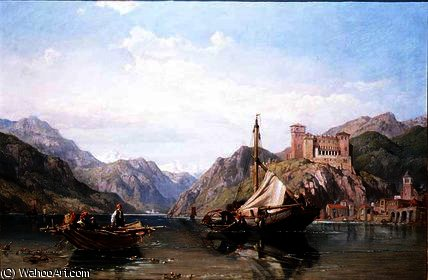 Angera sul lago Maggiore di George Clarkson Stanfield (1793-1867, United Kingdom) | Copia Pittura | WahooArt.com