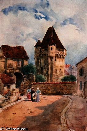 porte du croux , Nevers di Herbert Menzies Marshall (1841-1913, United Kingdom) | WahooArt.com