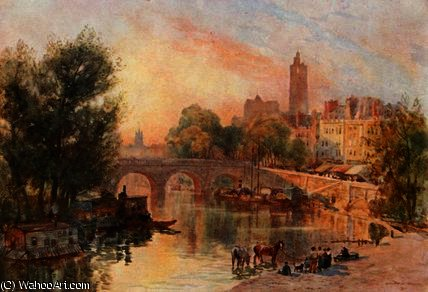Il pont marie , a parigi di Herbert Menzies Marshall (1841-1913, United Kingdom)