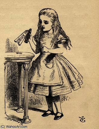 Alice scrutando la bottiglia Drink Me di John Tenniel (1820-1914, United Kingdom)