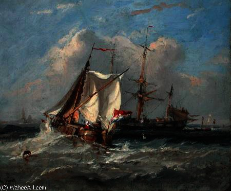 Un Smalschip olandese in una forte brezza di Thomas Sewell Robins (1810-1880, United Kingdom)