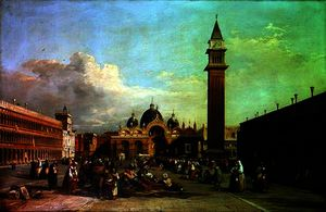 William James Muller - piazza san marco , con una processione