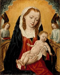 Master Of The Legend Of Saint Ursula - Madonna col Bambino e due angeli