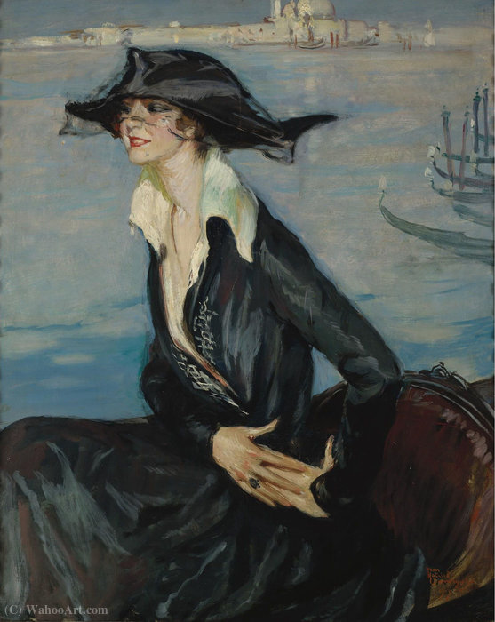Woman in Black di Venezia, (1919) di Jean-Gabriel Domergue (1889-1962)