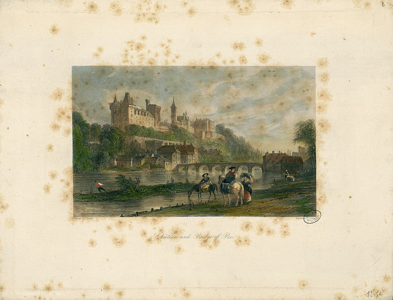 Castello e il ponte di Pau di Thomas Allom (1804-1872, United Kingdom)
