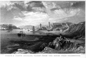 Thomas Allom - Nord e South Shields incisione