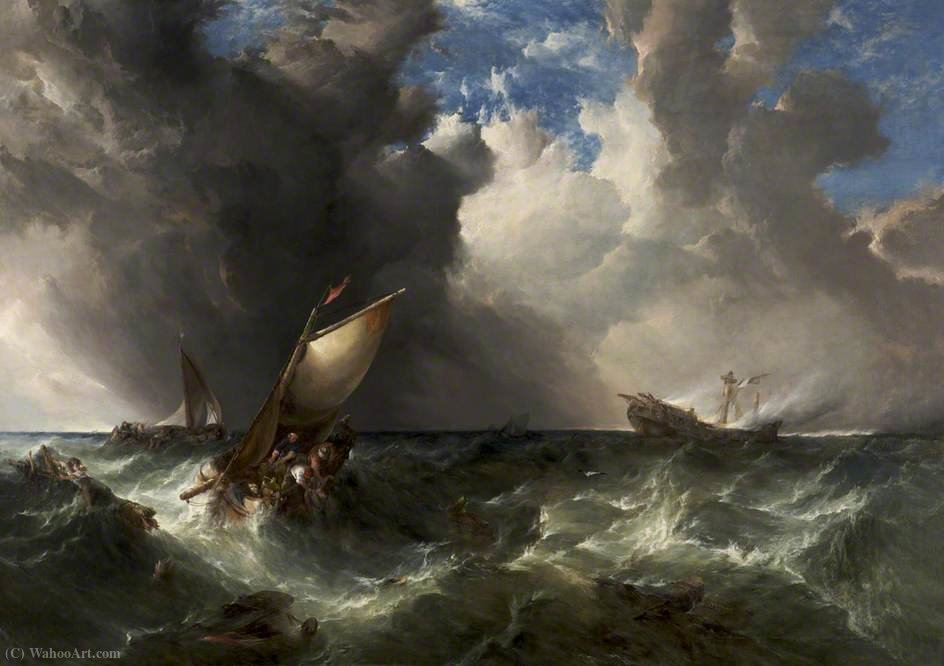 Nave in fiamme al largo della North Foreland di Alfred Montague (1832-1883, United Kingdom)