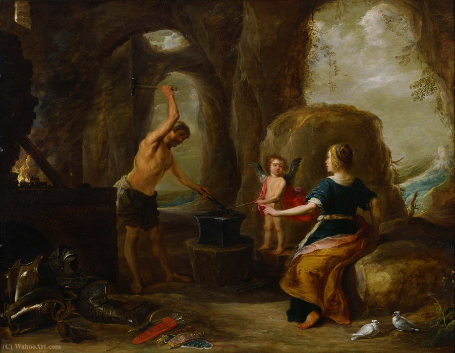 Venere in visita Vulcan s Forge di David Teniers The Elder (1582-1649, Belgium) | WahooArt.com