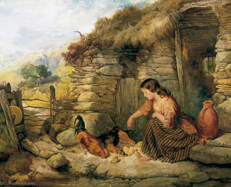 Feeding the Animali di Henry Bright (1812-1873, United Kingdom) | Riproduzioni Di Belle Arti Henry Bright | WahooArt.com