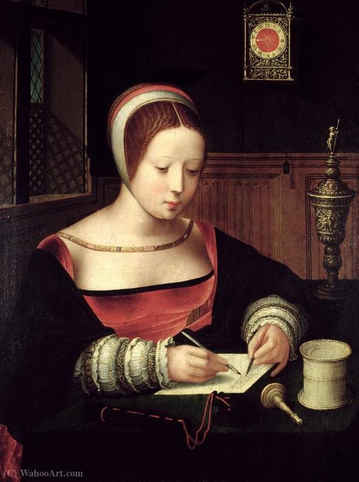 Scrittura Maria Maddalena. di Master Of Female Half Lengths