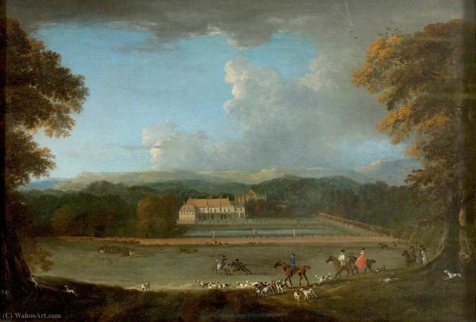 East View di Newsterad Abbey, Nottinghamshire di Peter Tillemans (1684-1734, Belgium)
