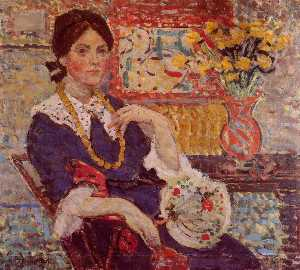 Maurice Brazil Prendergast - Le Rouge Ritratto di Miss Edith Re