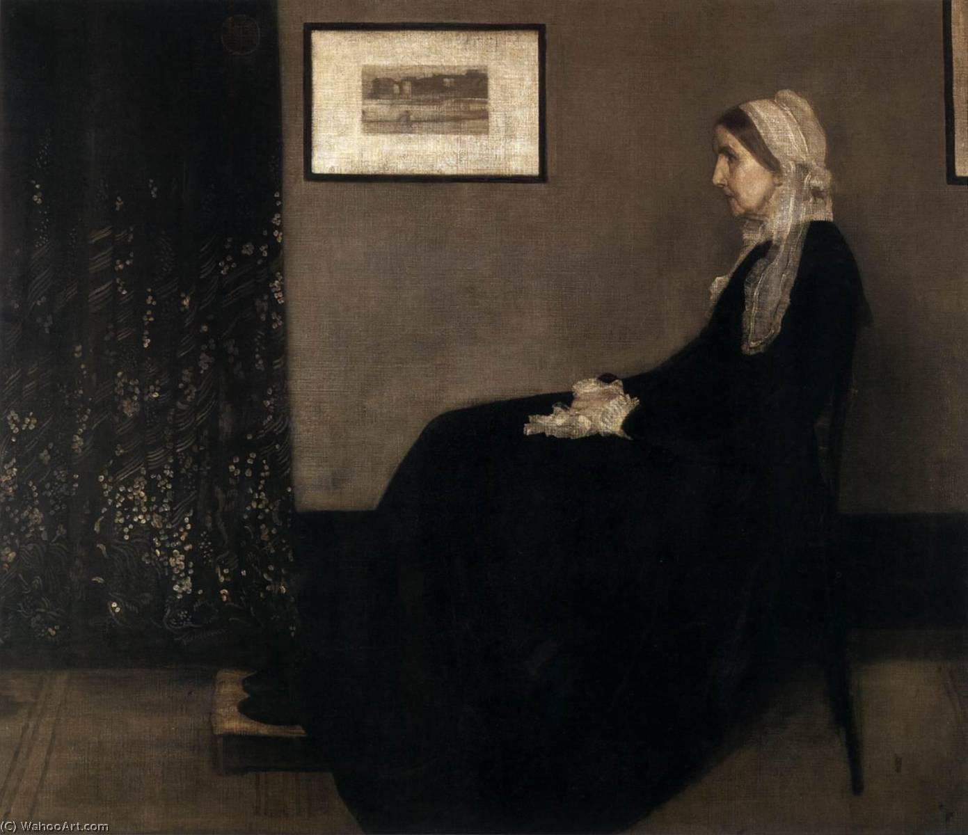 madre dell artista, olio su tela di James Abbott Mcneill Whistler (1834-1903, United States)