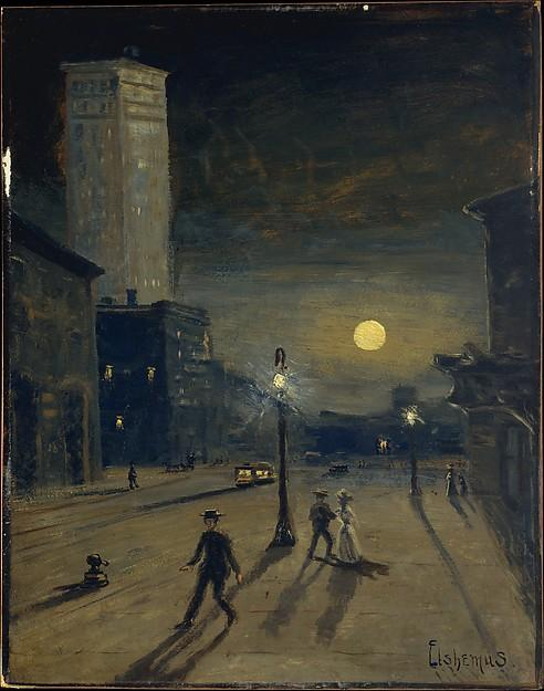 a New York in tempo  Notte , olio di Louis Michel Eilshemius (1864-1941, United States)