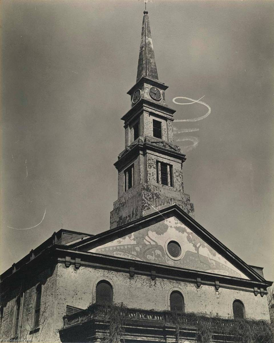 Cattedrale di st . Mark's Chiesa , con skywriting Spirale , Est 10th Strada a 2nd Viale, stampa di Berenice Abbott (1898-1991, United States)