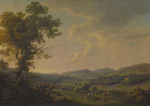 William Ashford - Paesaggio con Voltafieno e un vista in lontananza di un Georgiano Casa