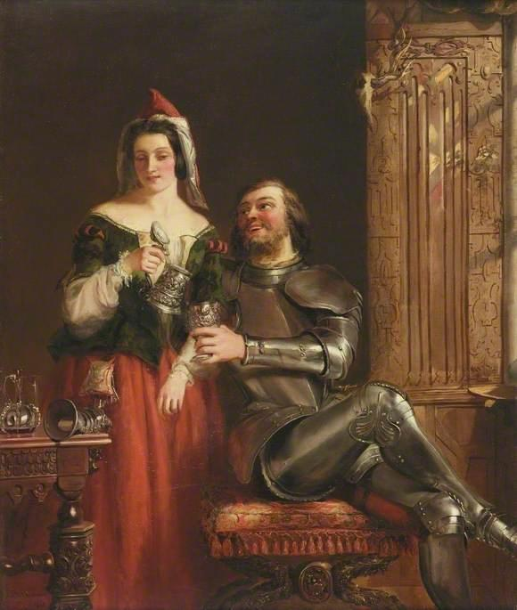 Il Cavaliere e le  dopodomani  cameriera , olio su tela di William Powell Frith (1819-1909, United Kingdom)