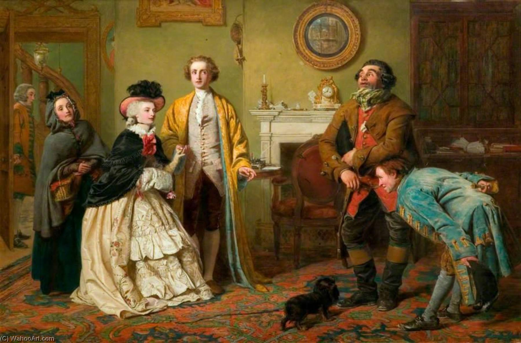 mr honeywood Introduce gli ufficiali giudiziari perdere Richland come i suoi amici ( conosciuto anche come rom oliver Goldsmith`s `The Bene Di natura Man` , atto iii , Scena 1 ), 1850 di William Powell Frith (1819-1909, United Kingdom) | Stampe D'arte Su Tela | WahooArt.com