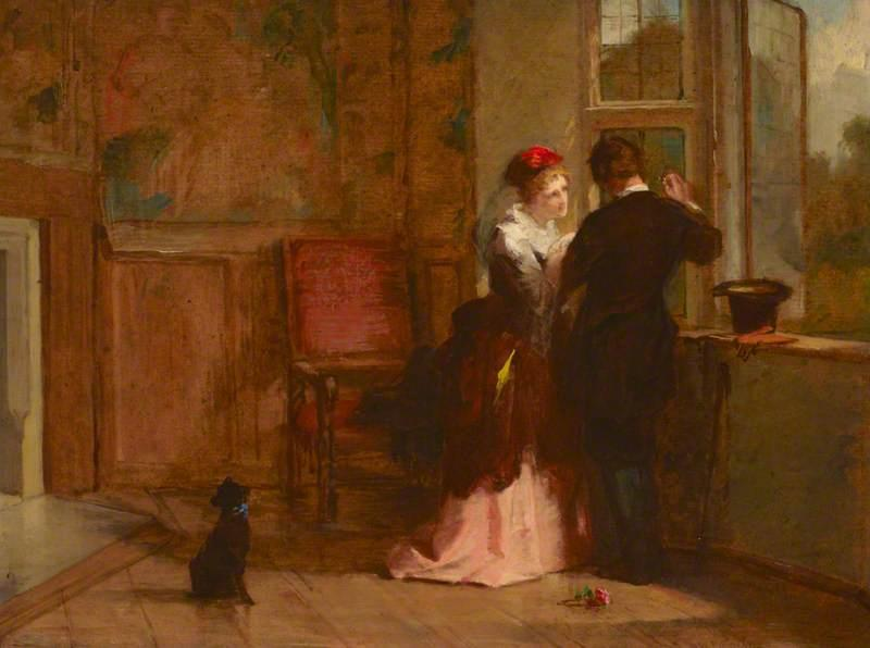 Lovers' Riunione ( in un Interno di Haddon Sala ), olio su tavola di William Powell Frith (1819-1909, United Kingdom)