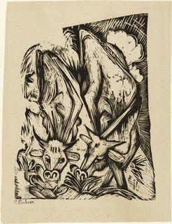 Due mucche al pascolo ( zwei grasende kühe ), legna di Ernst Ludwig Kirchner (1880-1938, Germany)