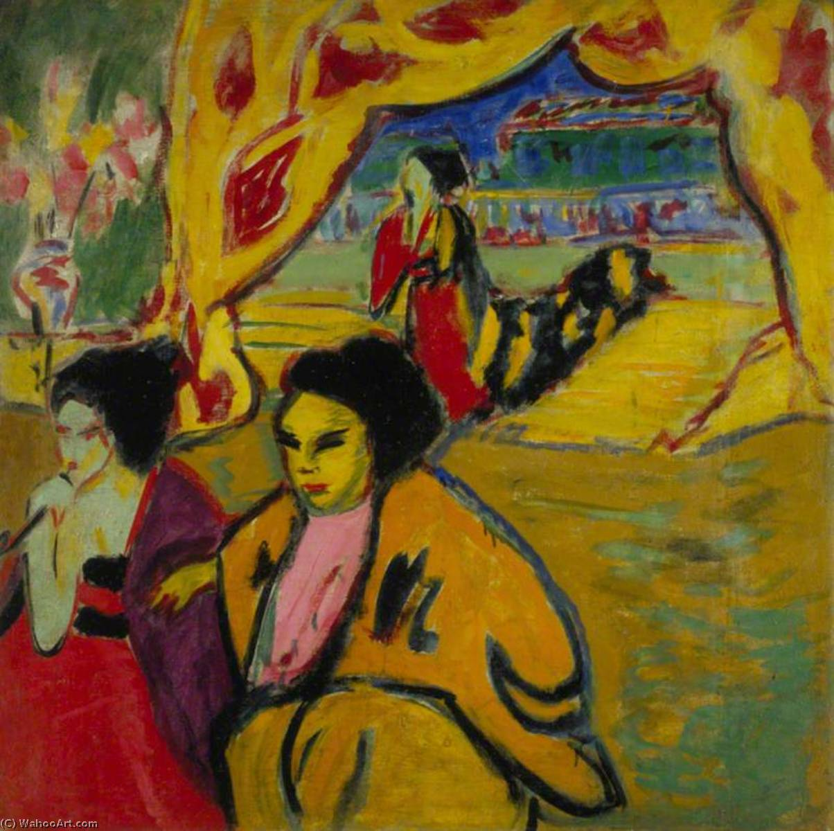 Japanisches Teatro ( Giapponese Teatro ), 1909 di Ernst Ludwig Kirchner (1880-1938, Germany) | WahooArt.com