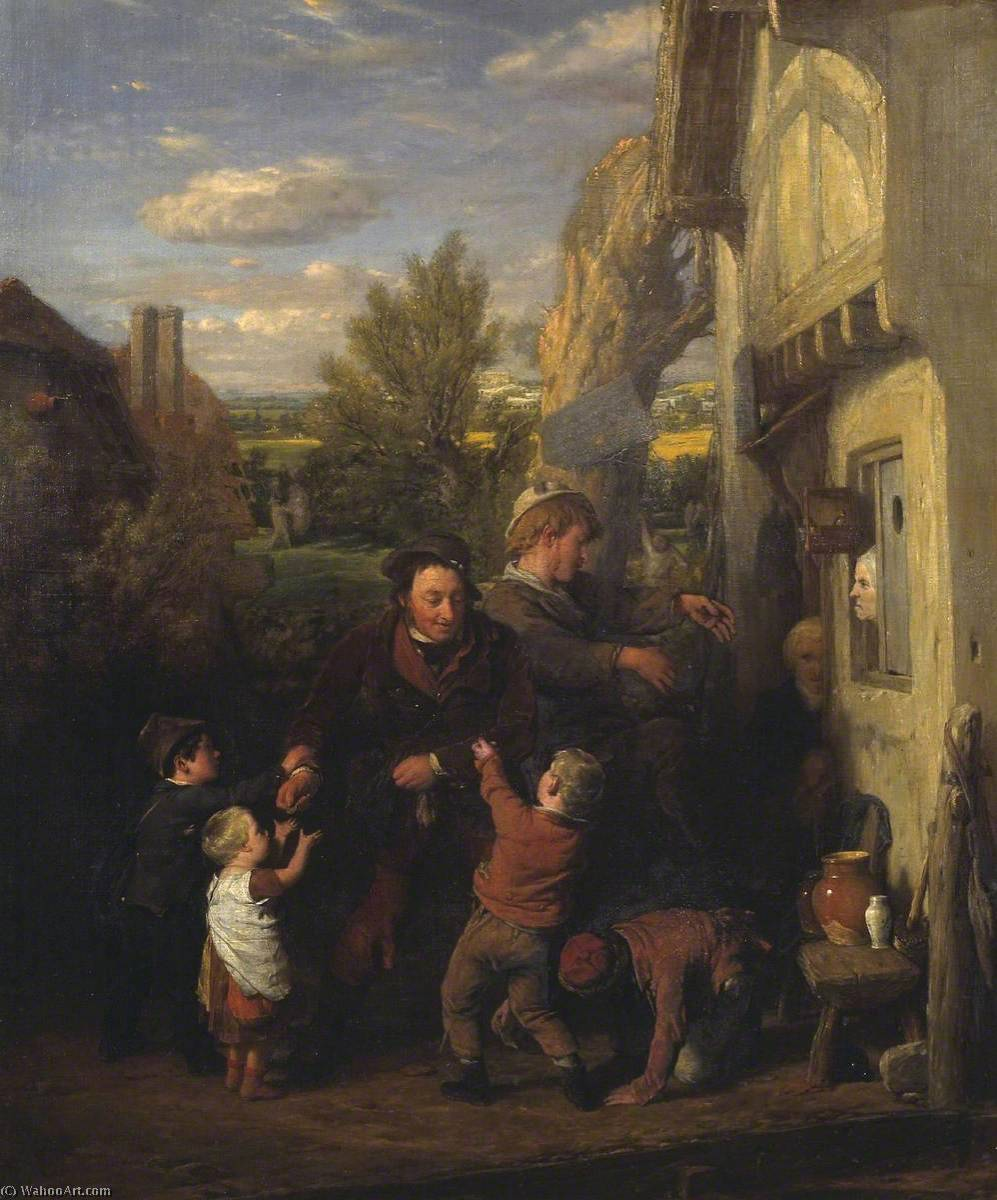 fair time ( 'Returning dal Birra House' ), olio su tela di William Mulready The Younger (1786-1863, Ireland)