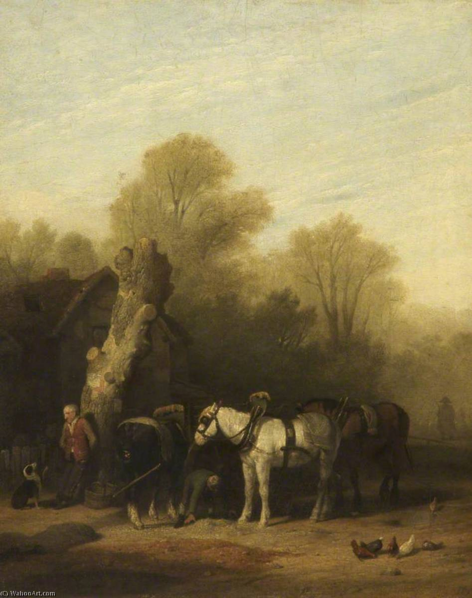cavalli pasturazione , 1816 di William Mulready The Younger (1786-1863, Ireland) | WahooArt.com
