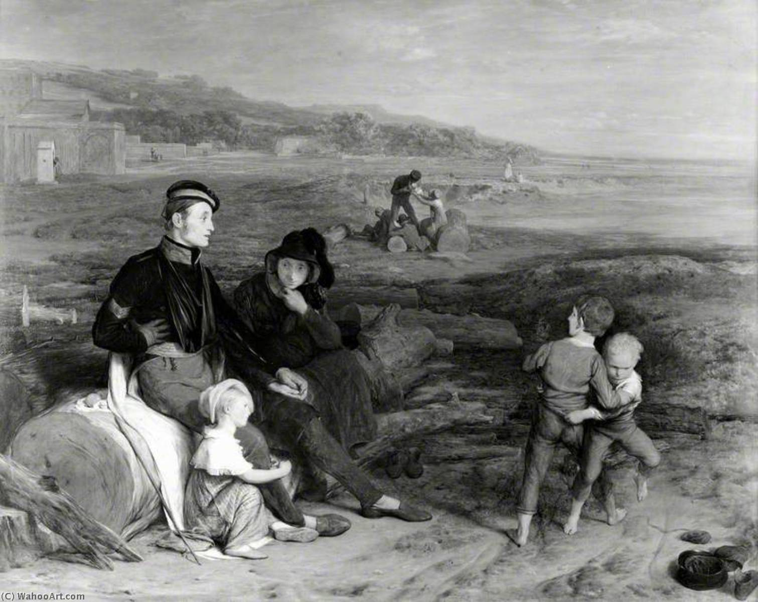 il convalescente da waterloo, olio su tavola di William Mulready The Younger (1786-1863, Ireland)