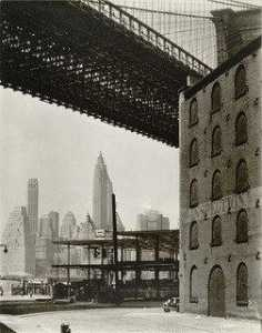 Berenice Abbott - ponte di brooklyn , Acqua e nuovo dock Strade , Brooklyn