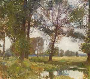 Alfred James Munnings - Pioppi , Fiume Waveney