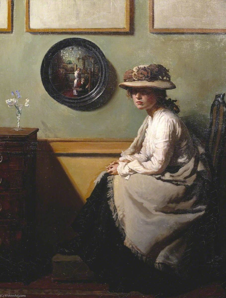 il specchio, olio su tela di William Newenham Montague Orpen (1878-1931, Ireland)