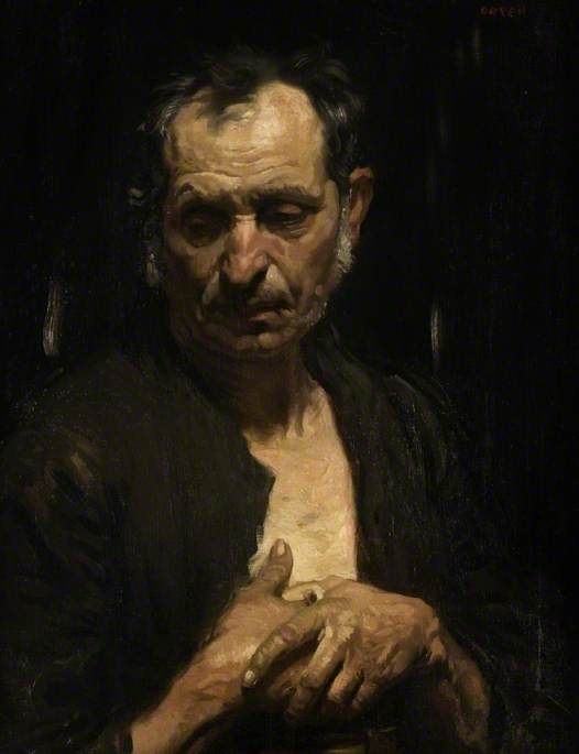 Un santo  di  dopodomani  poveri , olio su tela di William Newenham Montague Orpen (1878-1931, Ireland)