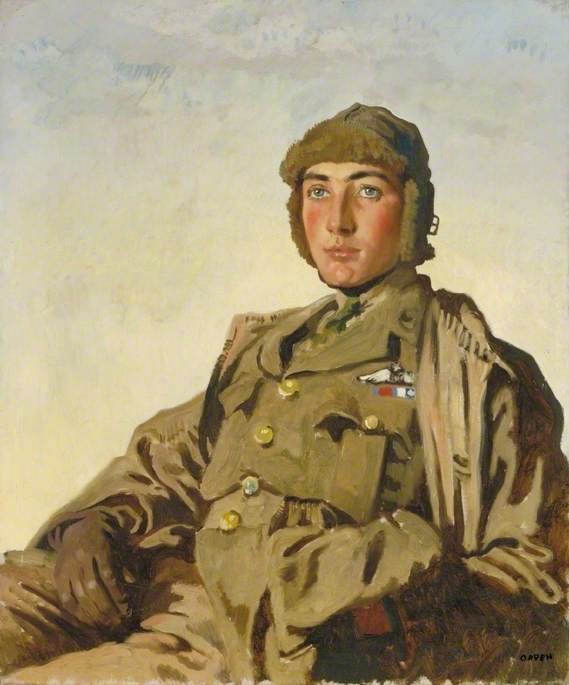 Tenente Artù percival foley rhys davids ( 1897–1917 ) , DSO , MC, olio su tela di William Newenham Montague Orpen (1878-1931, Ireland)