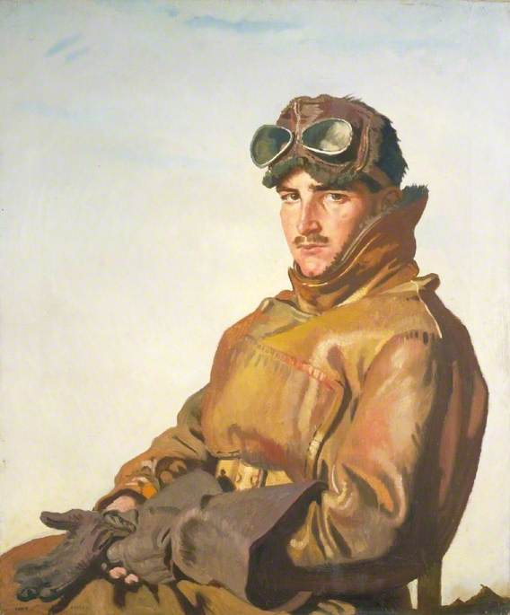 Un Aviatore Tenente reginald theodore carlos hoidge ( 1894–1963 ) , MC, olio su tela di William Newenham Montague Orpen (1878-1931, Ireland)