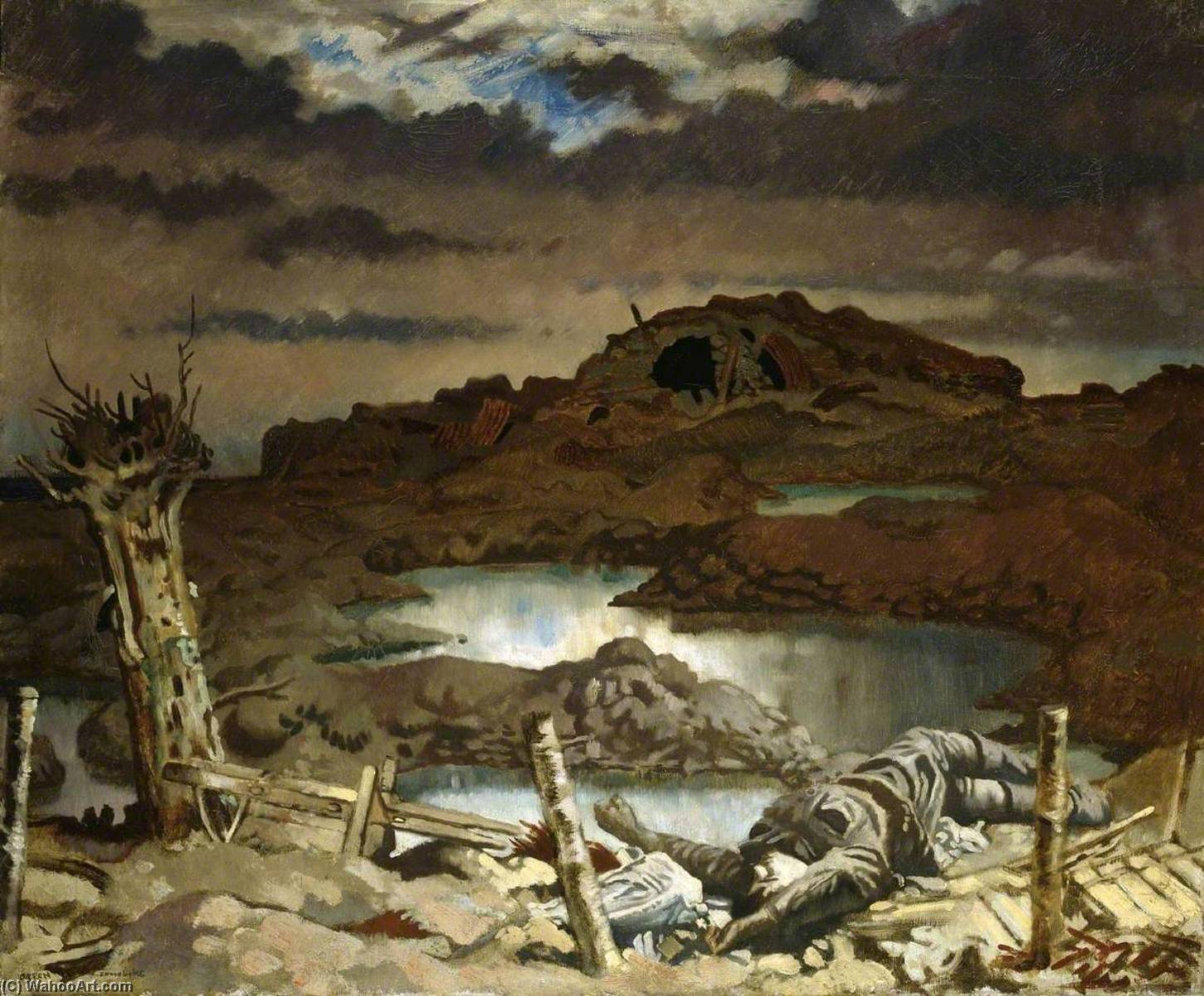 Zonnebeke, olio su tela di William Newenham Montague Orpen (1878-1931, Ireland)