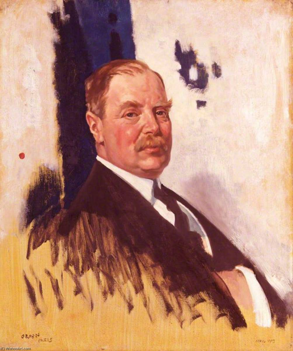 Edward Giorgio villiers stanley , 17th Conte di Derby, olio su tela di William Newenham Montague Orpen (1878-1931, Ireland)