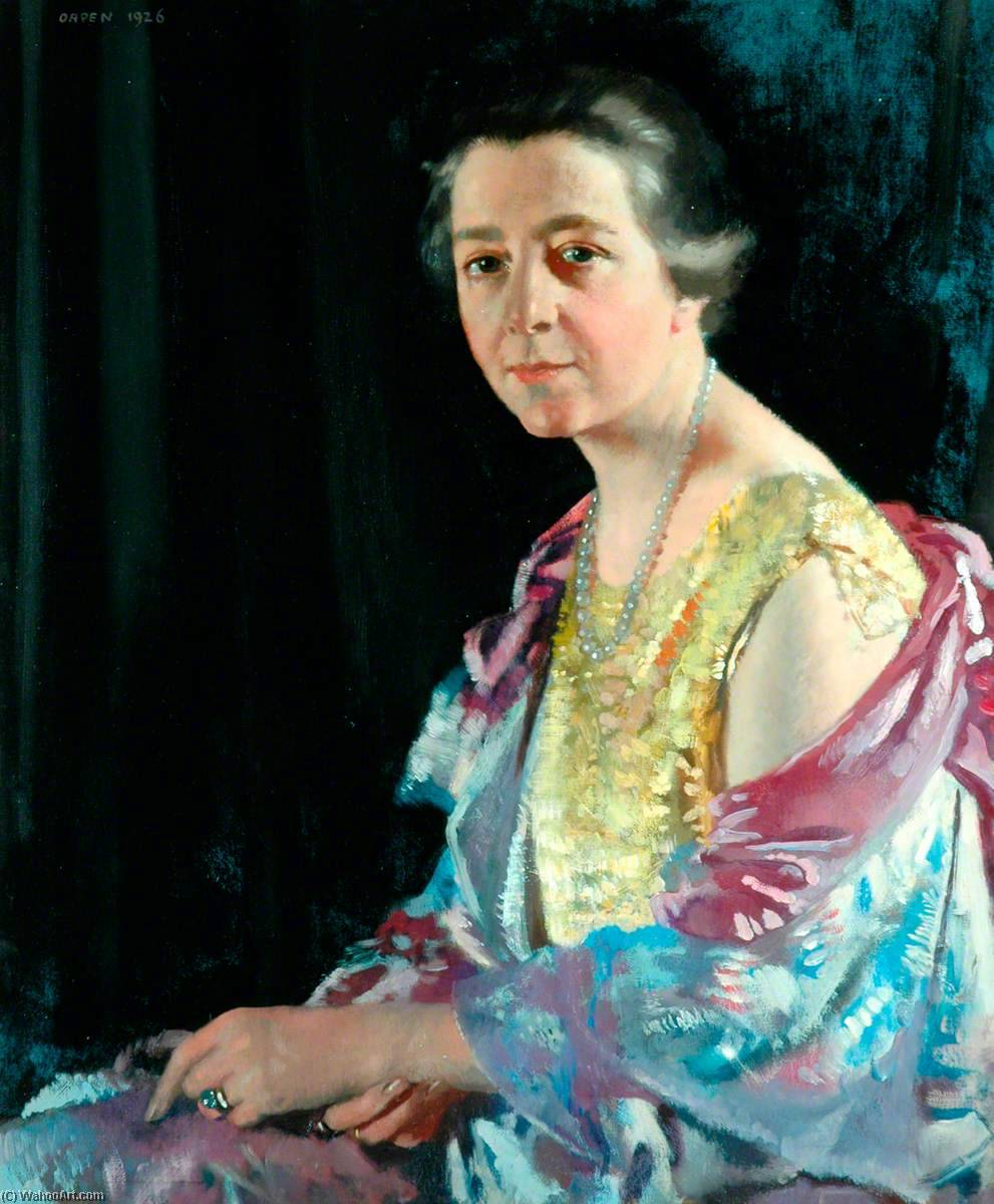 signora thomas howarth, olio su tela di William Newenham Montague Orpen (1878-1931, Ireland)