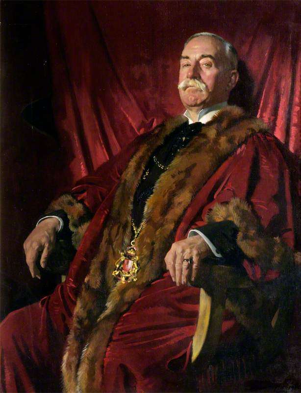 Signore william meff , lord provost di aberdeen ( 1911–1925 ), olio su tela di William Newenham Montague Orpen (1878-1931, Ireland)