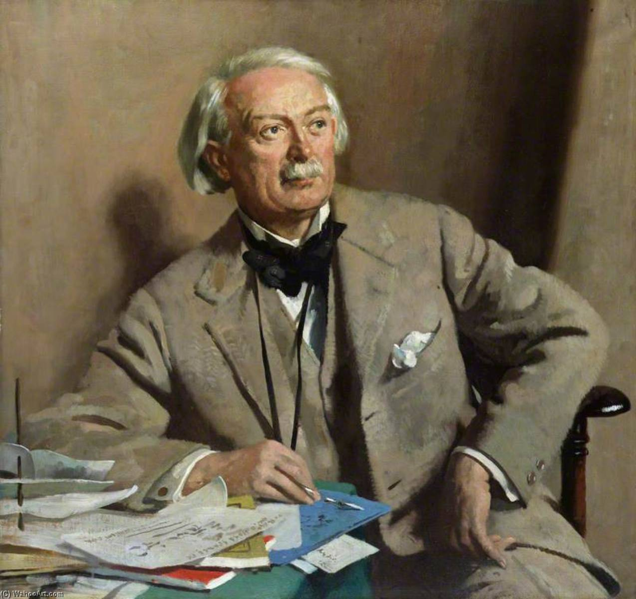 david lloyd Giorgio , 1st Conte Lloyd Giorgio, olio su tela di William Newenham Montague Orpen (1878-1931, Ireland)