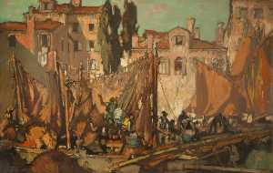 Frank William Brangwyn - Fishermen's Alloggio , Venezia