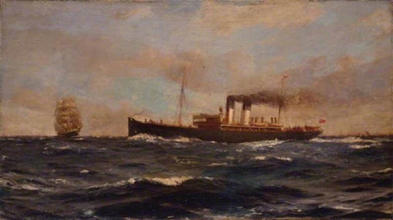 SS 'Immingham', 1906 di Thomas Jacques Somerscales (1842-1927) | WahooArt.com