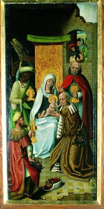 l adorazione dei magi ( recto ), olio su tavola di Master Of The View Of Saint Gudule