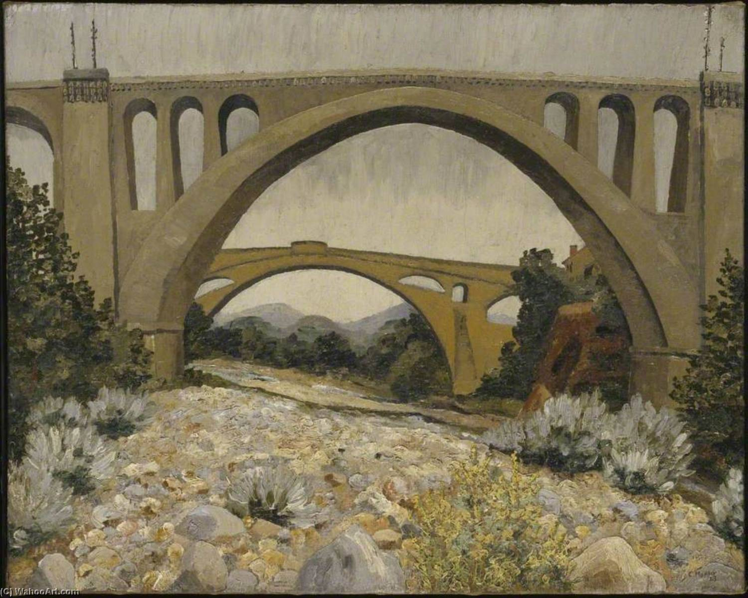 les ponts de ceret, olio su tela di Cedric Lockwood Morris (1889-1982, United Kingdom)