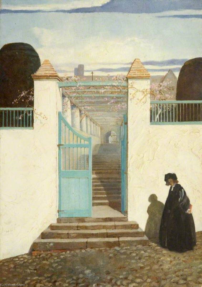 Un scala su st kitts, olio di Charles Paget Wade (1883-1956, United Kingdom)