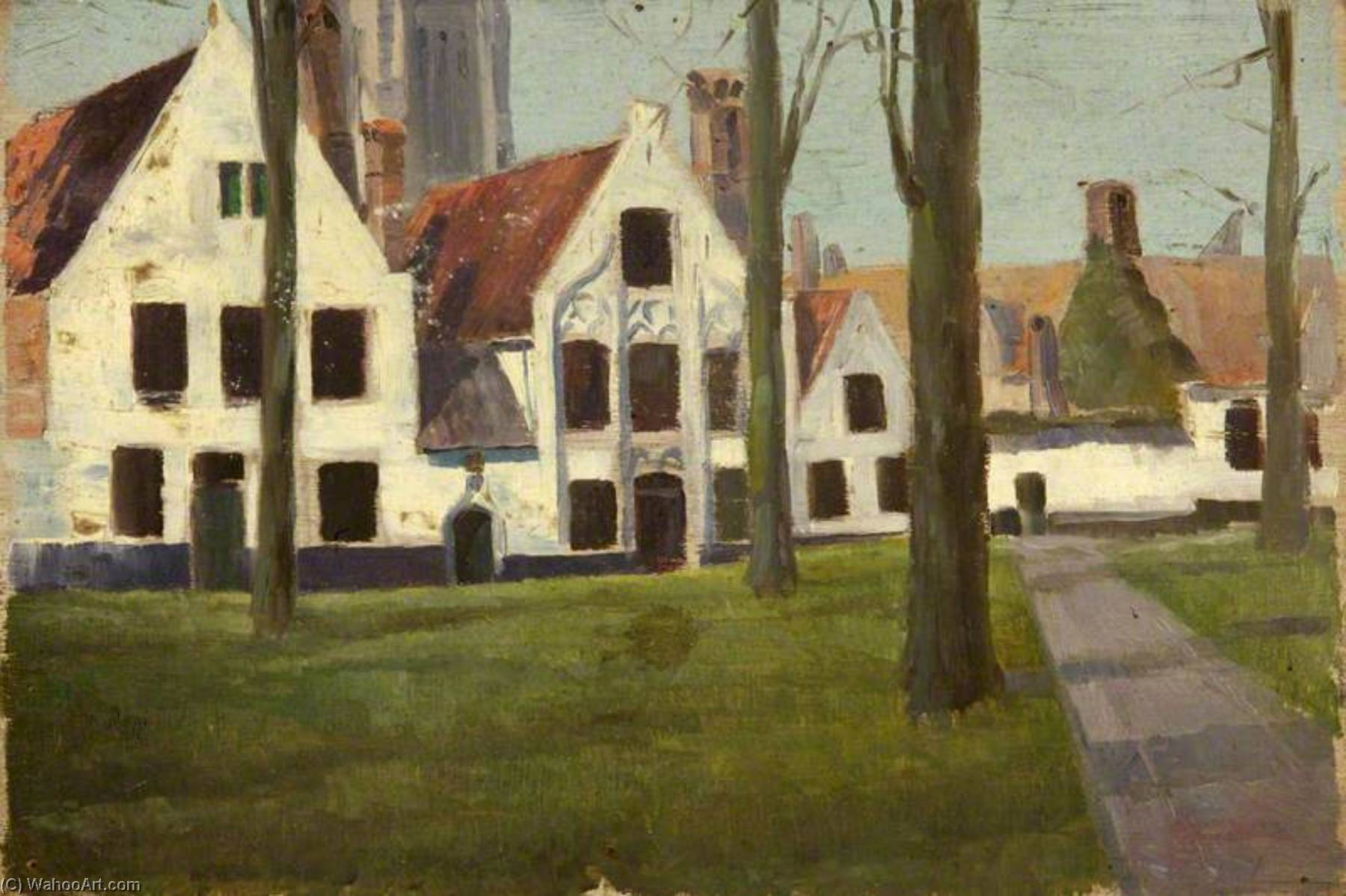 il beguinage , Bruges, olio di Charles Paget Wade (1883-1956, United Kingdom)