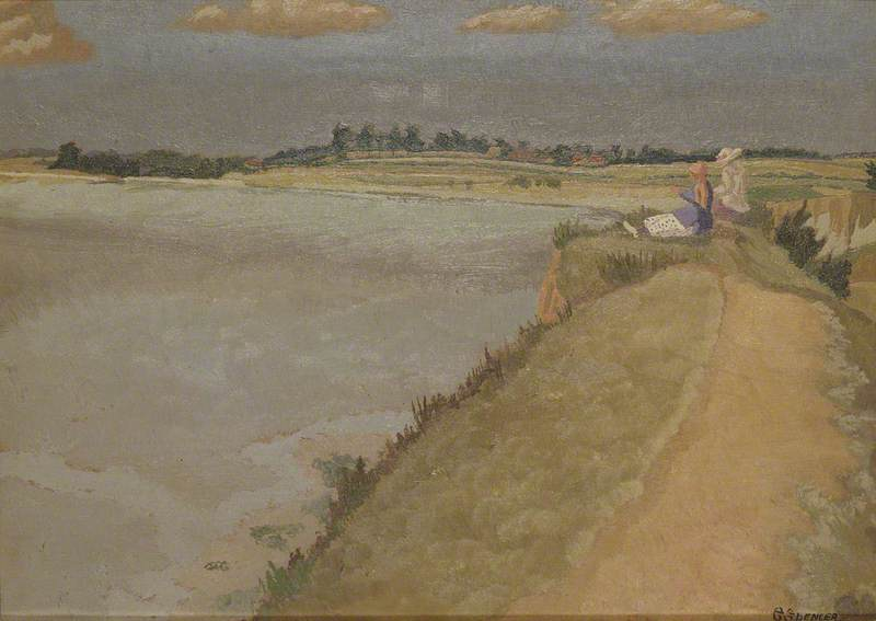 Pegwell Baia , Kent, olio su tavola di Gilbert Spencer (1892-1979, United Kingdom)
