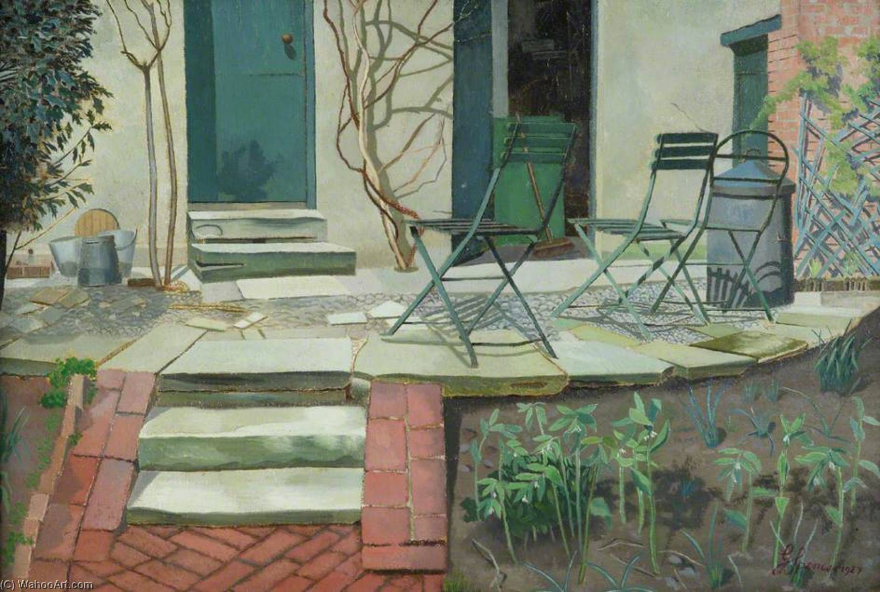 il terrazza, olio su tela di Gilbert Spencer (1892-1979, United Kingdom)
