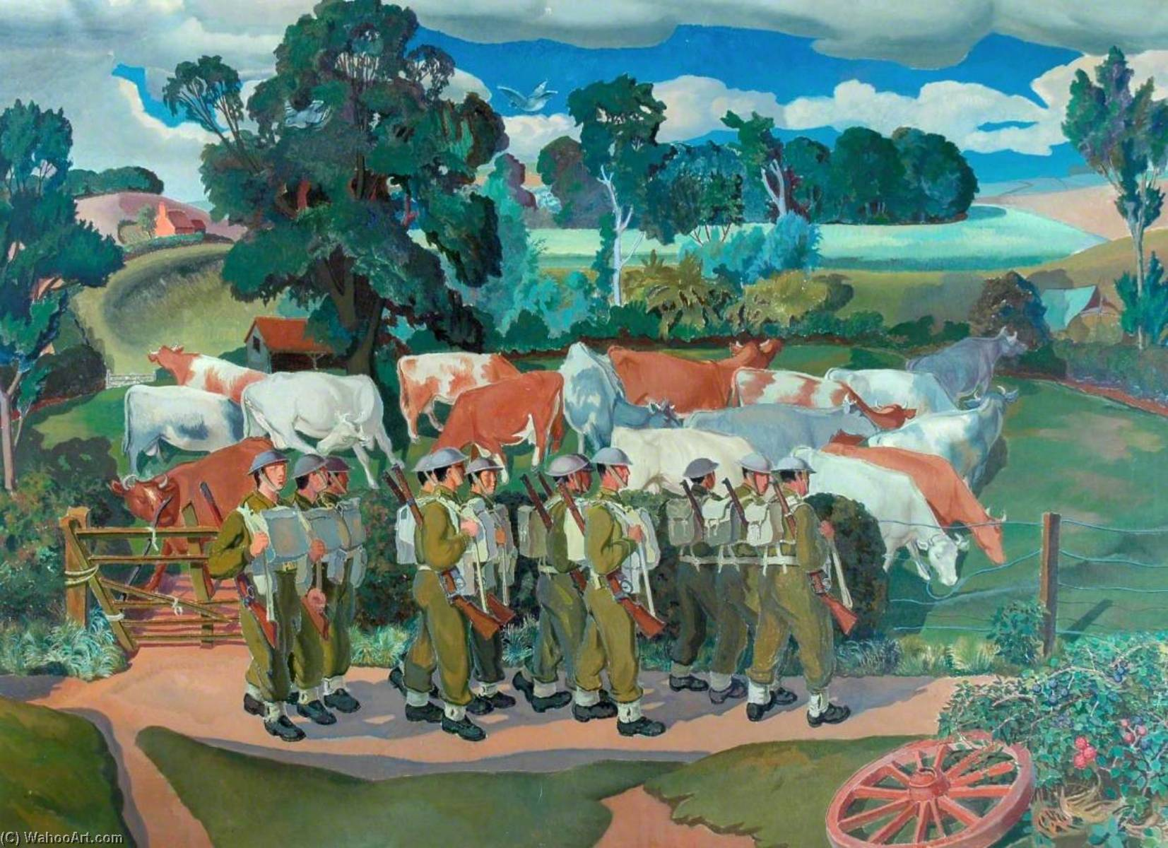 truppe come  dopodomani  campagna , olio su tela di Gilbert Spencer (1892-1979, United Kingdom)