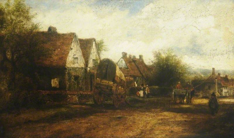 a villaggio scena con  figure  di Frederick Waters (William) Watts (1800-1870, United Kingdom) | Stampe D'arte Su Tela | WahooArt.com